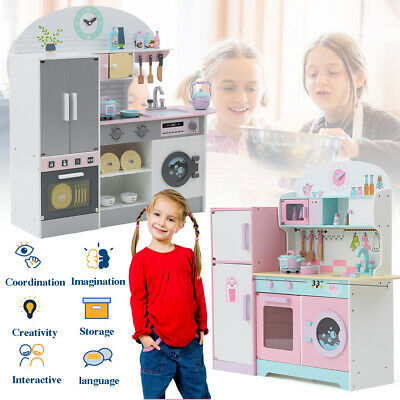 LARGE WOODEN KIDS TOY PRETEND KITCHEN PLAYSET CHILDRENS ROLE PLAY COOKER 2 Type!
