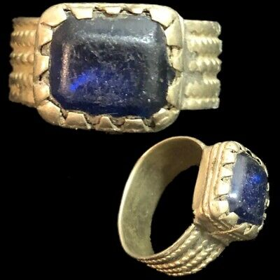 Stunning Top Quality Post Medieval Silver Ring With Blue Stone (1)