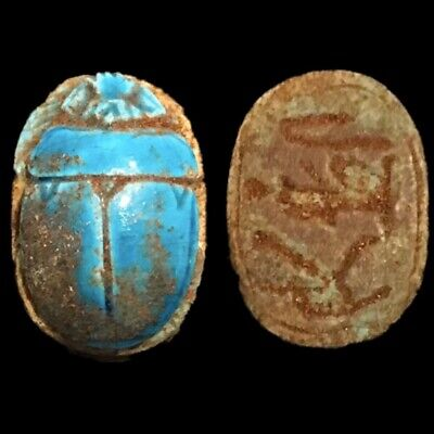 Beautiful Ancient Egyptian Blue Glazed Scarab 300 Bc (1)