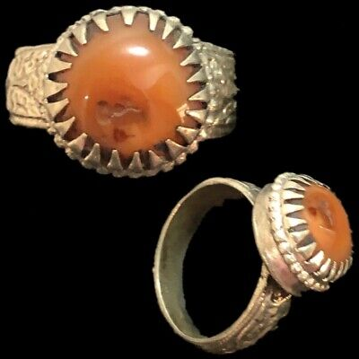 Stunning Top Quality Post Medieval Silver Ring With Orange Stone (3)