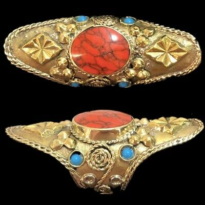 Ancient Silver Decorative Gandhara Bedouin Ring With Red Stone (3)