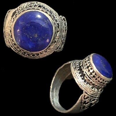 Stunning Top Quality Post Medieval Silver Ring With Lapis Lazuli Stone (4)