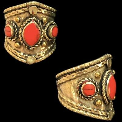 Ancient Silver Decorative Gandhara Bedouin Ring With Red Stone (4)