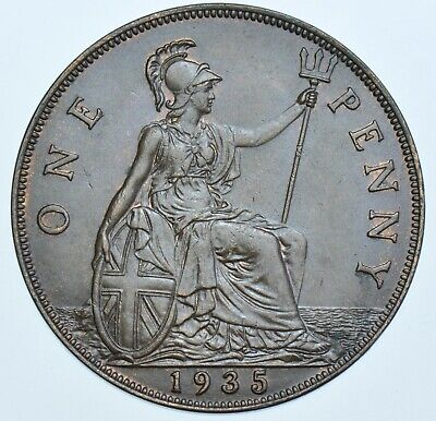 1935 Penny British Coin From George V Au