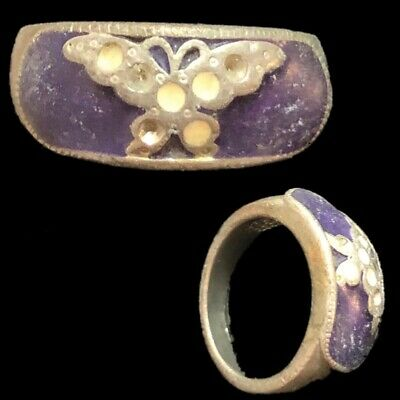 Stunning Top Quality Post Medieval Silver Ring With Purple Stone (6)