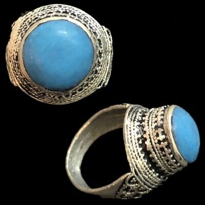 Stunning Top Quality Post Medieval Silver Ring With Blue Stone (8)