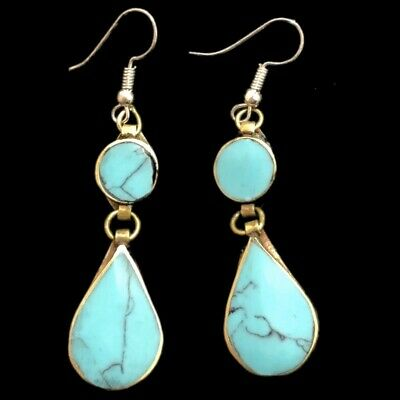 VERY RARE ANCIENT SILVER EARRINGS WITH AQUA STONES (Large Size) (9)