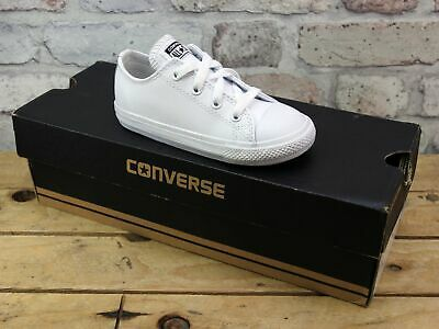 Kids Infant Converse All Star Low White Leather Sports Pumps Trainers Size Uk 9