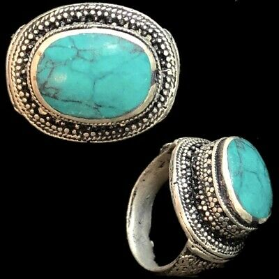 Stunning Top Quality Post Medieval Silver Ring With Green Stone (10)