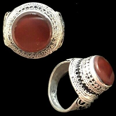Stunning Top Quality Post Medieval Silver Ring With Red Stone (11)