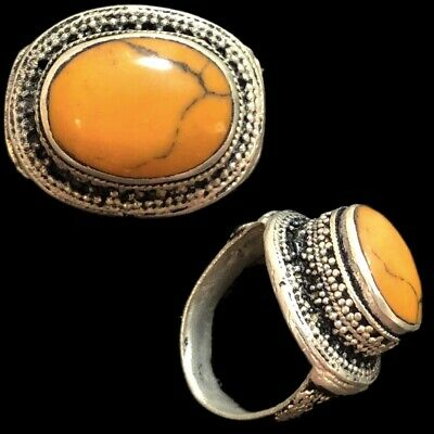 Stunning Top Quality Post Medieval Silver Ring With Orange Stone (12)