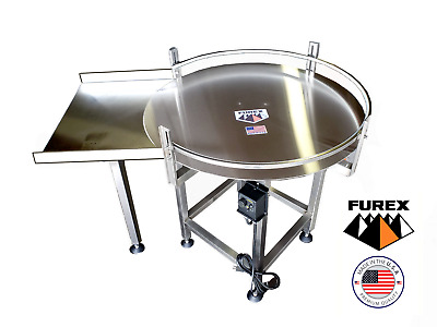 "Furex 36"" Dia. Stainless Steel Accumulating Rotary Table with In Feed Table"