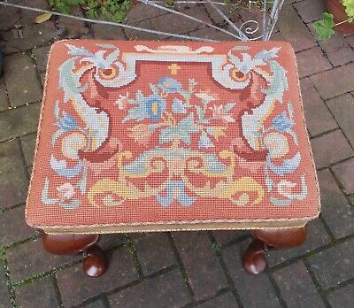 Excellent Antique Walnut Piano Or Dressing Stool~Tapestry Seat~Cabriole Supports