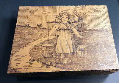 Vintage Old Pyrography Burnt Wood Dresser Box Dutch Girl Windmill Pails Goose