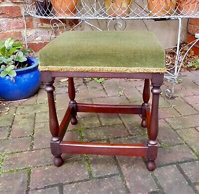 Small Vintage Mahogany Table Or Piano/Dressing Stool~Green Velvet Seat