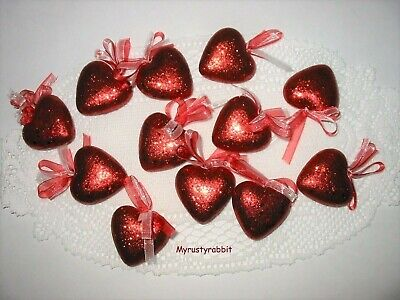 """2"""" Red Glitter Heart Ornaments ~ Set of 12 ~ Valentine's Day - NEW"""