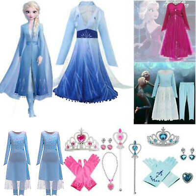 Kids Girls Snow King Queen Elsa Princess Cosplay Costume Fancy Party Dress Sets