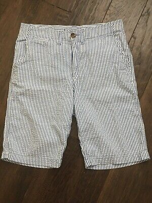 LANDS END Boys' Blue and White Striped Seersucker Shorts Size 20 Easter Beach