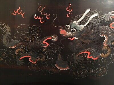 Antique Vintage Black Lacquerware Dragon Pearl Chinese Wooden Painted Tea Tray