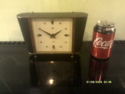 Vintage Smiths Art Deco  Brass & Leather Mantle Clock Spares/repairs FREE POST