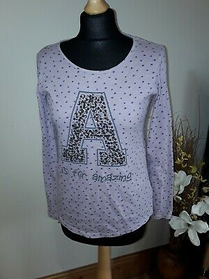 Next Girls 13 Yrs Lilac & Purple A is For Amazing Long Sleeved Tshirt Top