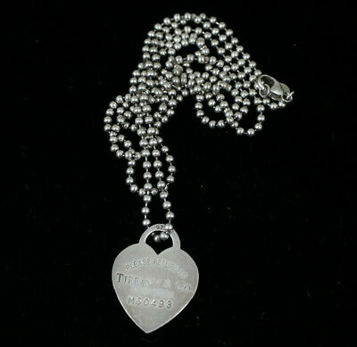 TIFFANY & Co. STERLING SILVER please return to HEART TAG ID Pendant Necklace