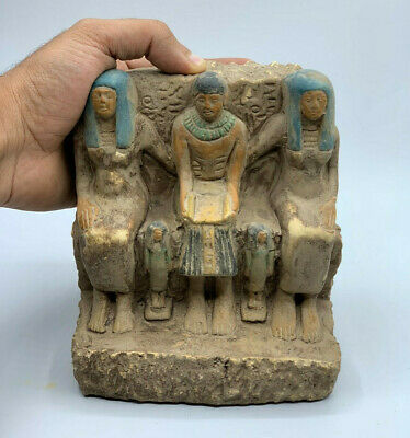 RARE EGYPT EGYPTIAN ANTIQUES Pharaoh Family Statue Carved STONE 3250 BC