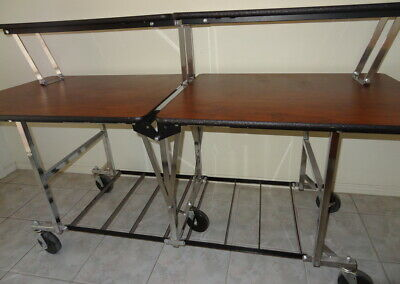SICO Mobile 2 Tier Catering Table with Storage Shelf Fold Roll Design RRP$1400!
