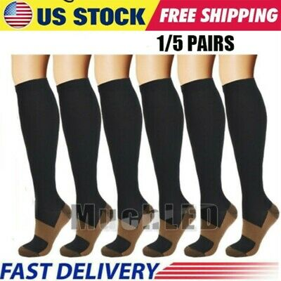 5 Pairs Copper Fit Compression Socks Running Medical 20-30 mmHG Foot Pain Relief
