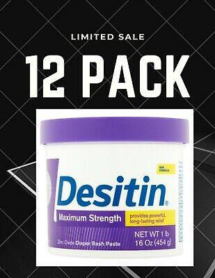 Desitin Diaper Rash Maximum Strength, Zinc Paste, 16 Oz. (Lot of 12 Tubs)