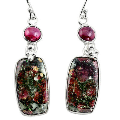 925 Silver 17.49cts Natural Pink Eudialyte Red Garnet Dangle Earrings P88820
