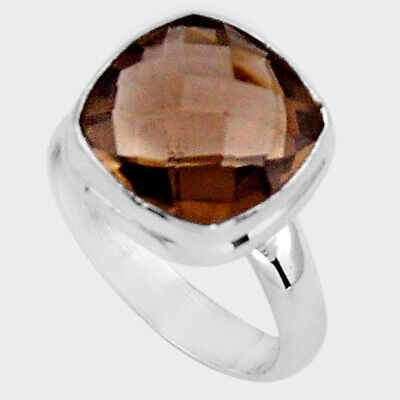 6.54cts Brown Smoky Topaz 925 Sterling Silver Solitaire Ring Size 8 P89923