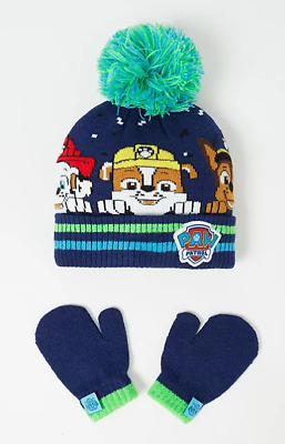 Paw Patrol Bobble Hat and Mittens Winter Set Boys 1-6 Years NEW