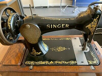Vintage Singer 128k Hand Crank Sewing Machine C1916 F722404   GOOD CONDITION