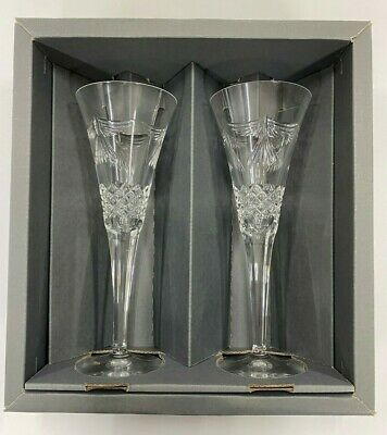 Set Of 2 Waterford Crystal PEACE The Millennium Collection Toasting Flutes