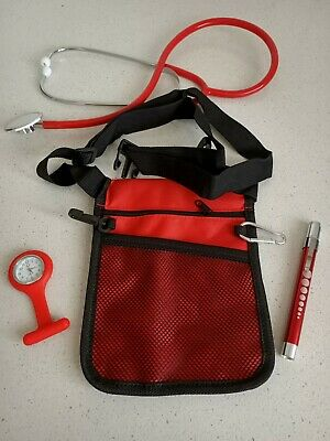 Medical Kit: nurse pouch + Penlight neuro torch+nurse watch + Stethoscope RED