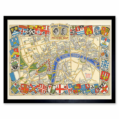 1947 Pictorial Map London Royal Wedding Picture Map Wall Art Print Framed 12x16