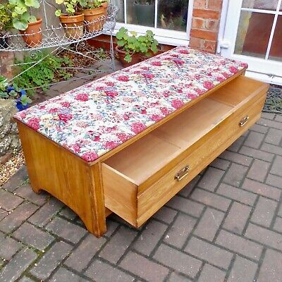 Country House Edwardian Solid Ash Ottoman~Drawer~Sanderson Gorgeous Peony & Rose
