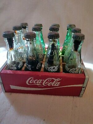 Vintage Coca-Cola Coke Wood Crate With 12 Mini Bottles