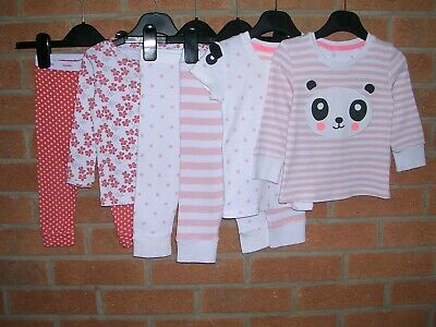 MARKS & SPENCER GAP Girls Pyjamas Bundle Pink White 100% Cotton Age 12-18m