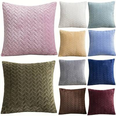 "18"" Plush Velvet Soft Pink Weave Cushion Cover Throw Pillow Case Bed Car Decor"