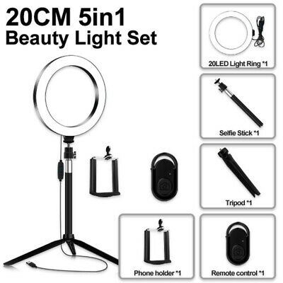 5-in-1 LED Ring Light Dimmable Lamp Tripod YouTube Video Selfie Remote Control