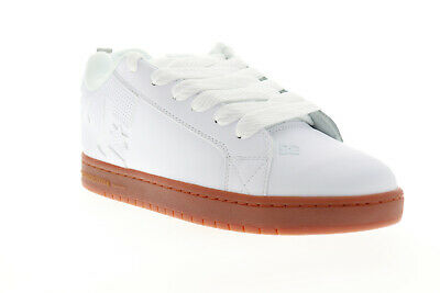 DC Court Graffik 300529 Mens White Leather Athletic Lace Up Skate Shoes