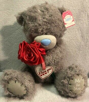 Me To You Tatty Teddy I Love You Valentine's  bear holding 3 red roses With Tags