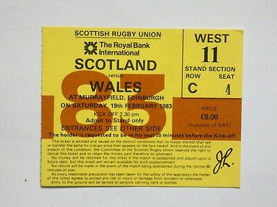Scotland Wales Rugby Union Ticket 1983
