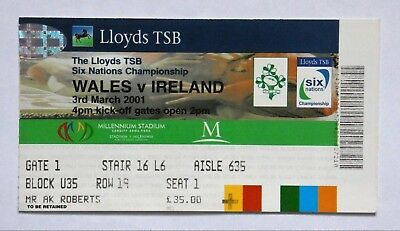 Wales Ireland Rugby Union Tickets 2001