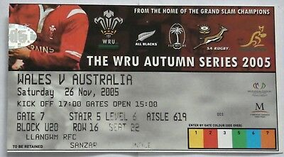 Wales Australia Rugby Union Ticket 2005