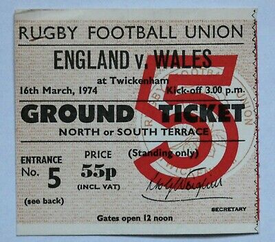 England Wales Rugby Union Ticket 1974