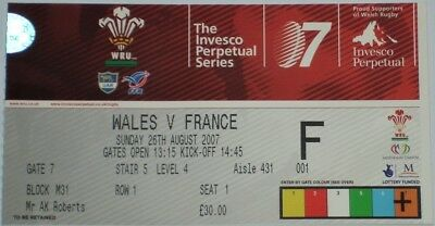 Wales France Rugby Union Ticket 2007
