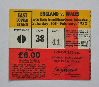 England Wales Rugby Union Ticket 1980